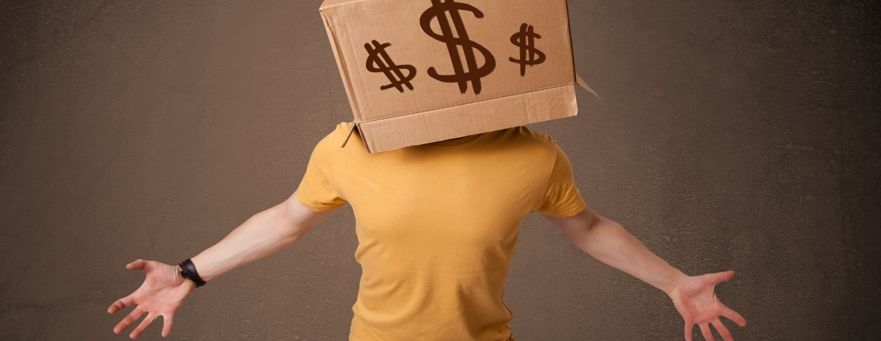 man with box over head, dollar signs
